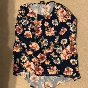 Beautiful navy maternity top with pink flowers